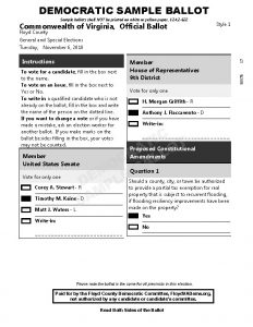 Democratic Sample Ballot 2018
