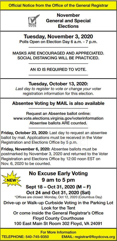 Floyd County Voting 2020